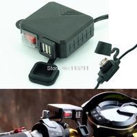 RPMMOTOR Wodoodporna Motocykl 12 V GPS MP3 Ładowarka USB Gniazdo Zasilania Z Przełącznikiem Dla Harley Honda Yamaha Suzuki Kawasaki BMW