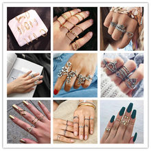 14 Styles Women Bohemian Vintage Crown Wave Flower Heart Lotus Star Leaf Crystal Opal Joint Ring Party Jewelry Silver Rings Set(China)