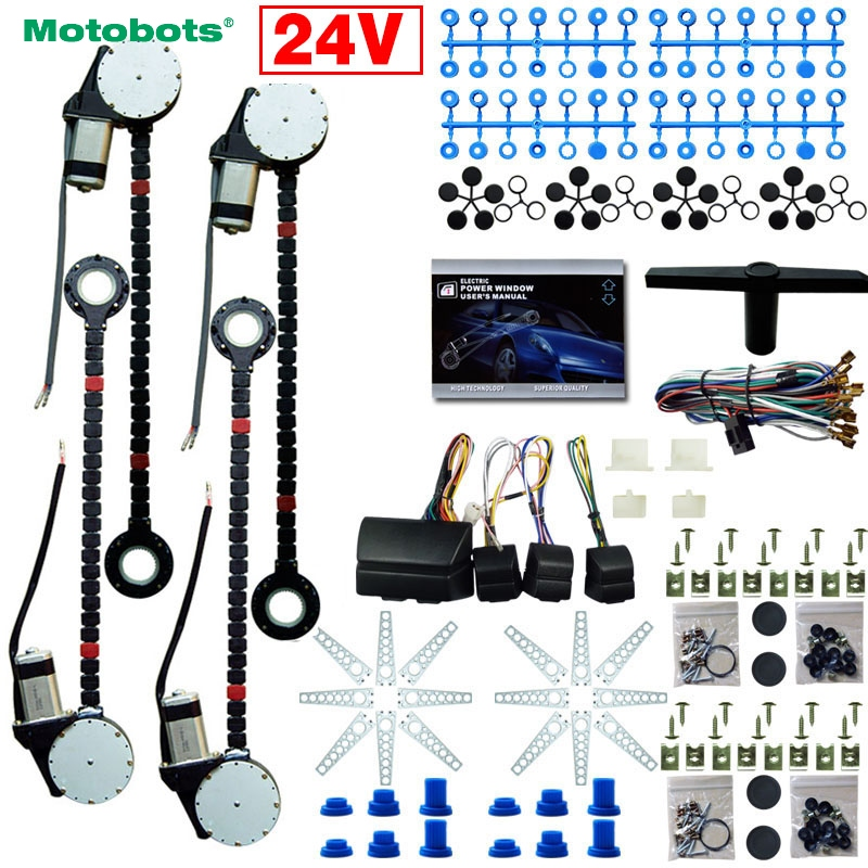 MOTOBOTS 1Set DC24V Car/Truck Universal 4 Doors Electronice Power Window kits With 8pcs/Set Swithces & Harness