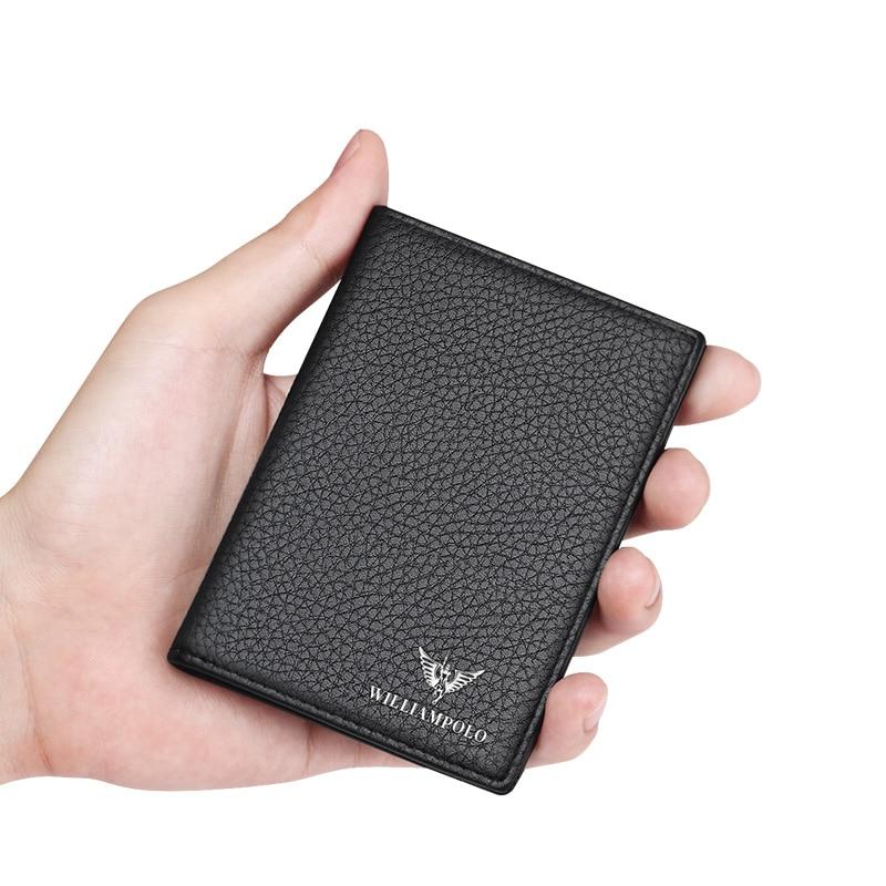 WILLIAMPOLO Short Wallet Purse Slim Black Mini Genuine-Leather Fashion Card-Holders Gift