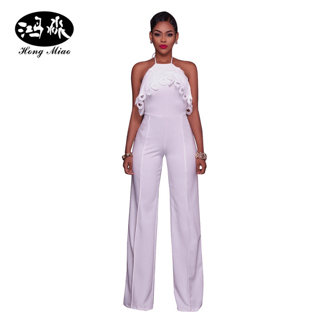 e1a0da7b33bf HongMiao Sexy Women Spaghetti Strap Off Shoulder Party White Rompers Jumpsuit  Backless Summer Ladies Overalls Wide Leg Jumpsuit