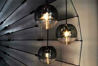 Modern stained glass pendant light Living Room, Dining Room, Bedroom Smoked Grey Glass hanging light