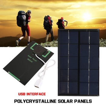 USB Solar Panel Outdoor 5W 5V Portable Solar Charger Pane Climbing Fast Charger Polysilicon Tablet Solar Generator Travel 3