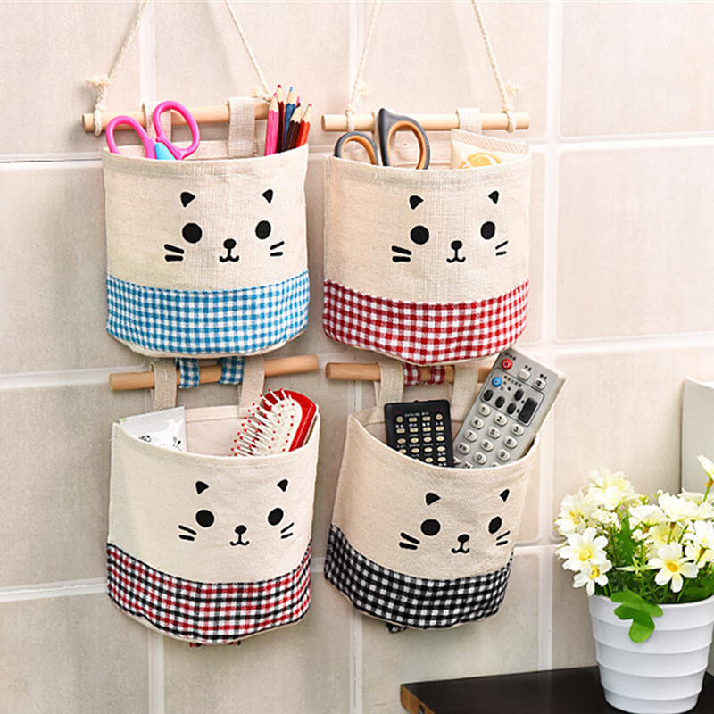 Cotton Linen Storage Bag Creative Cosmetic Bag Hanging Organizer Rangement Container For Room Cupboard Makeup Kit Bolsas De Tela tempat make up gantung