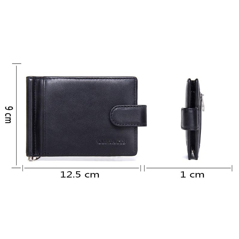 CONTACT'S Fashion Genuine Leather Money Clips High Quality Cow Leather Men Wallets Hasp Mini Purses vintage Men Wallet 2