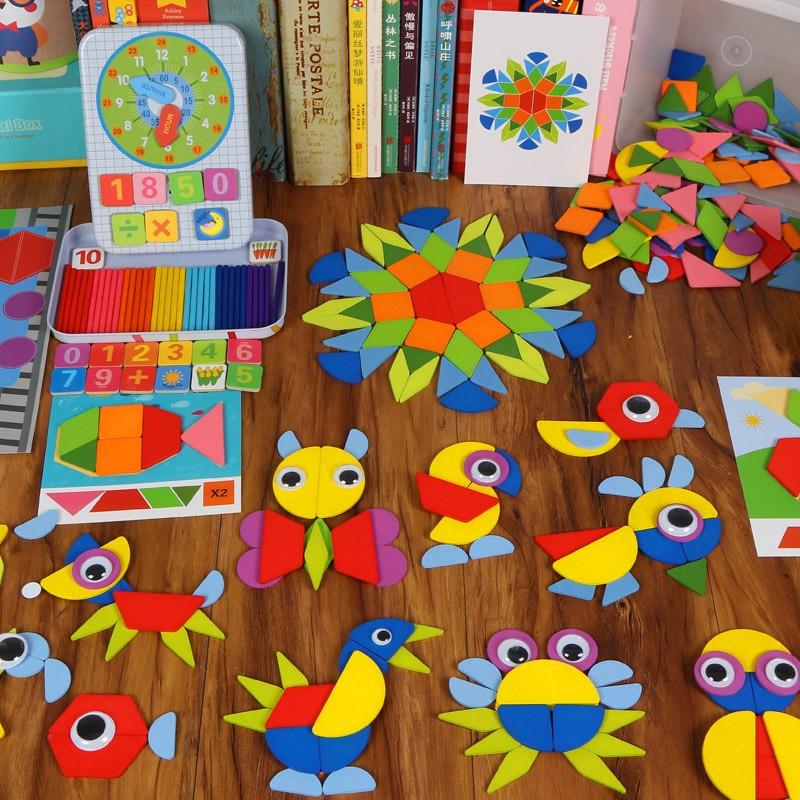 Copii din lemn Jigsaw puzzle-uri copii Geometric Forma culori cifre - Jocuri și puzzle-uri