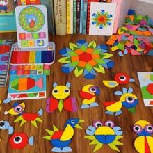 Gyerekek fából Jigsaw Puzzles gyerekek Geometriai alakzat színes ábrák felismerés tanulási eddig Oktatási játékok kreatív DIY puzzle