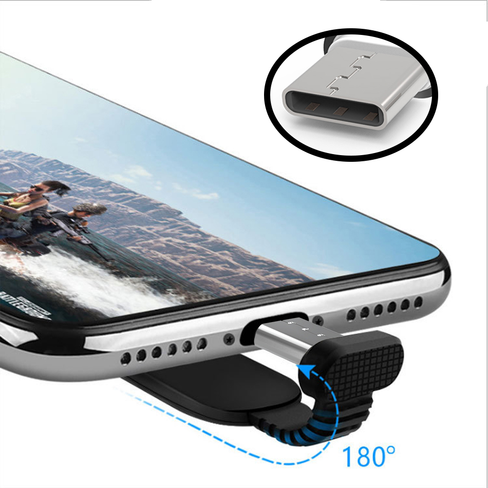 90 Degree Type C Cable Gaming Fast Charging Data Cable for Samsung S8 S9 for Huawei for Xiaomi L Bending USB Cable Right Angled