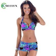 2019 Women Sexy Two piece Halter Print Floral Tankini Swimsuit Brazilian Bikini Set Retro Bathing Suit Plus Size Swimwear 3XL plus size halter pineapple tankini set