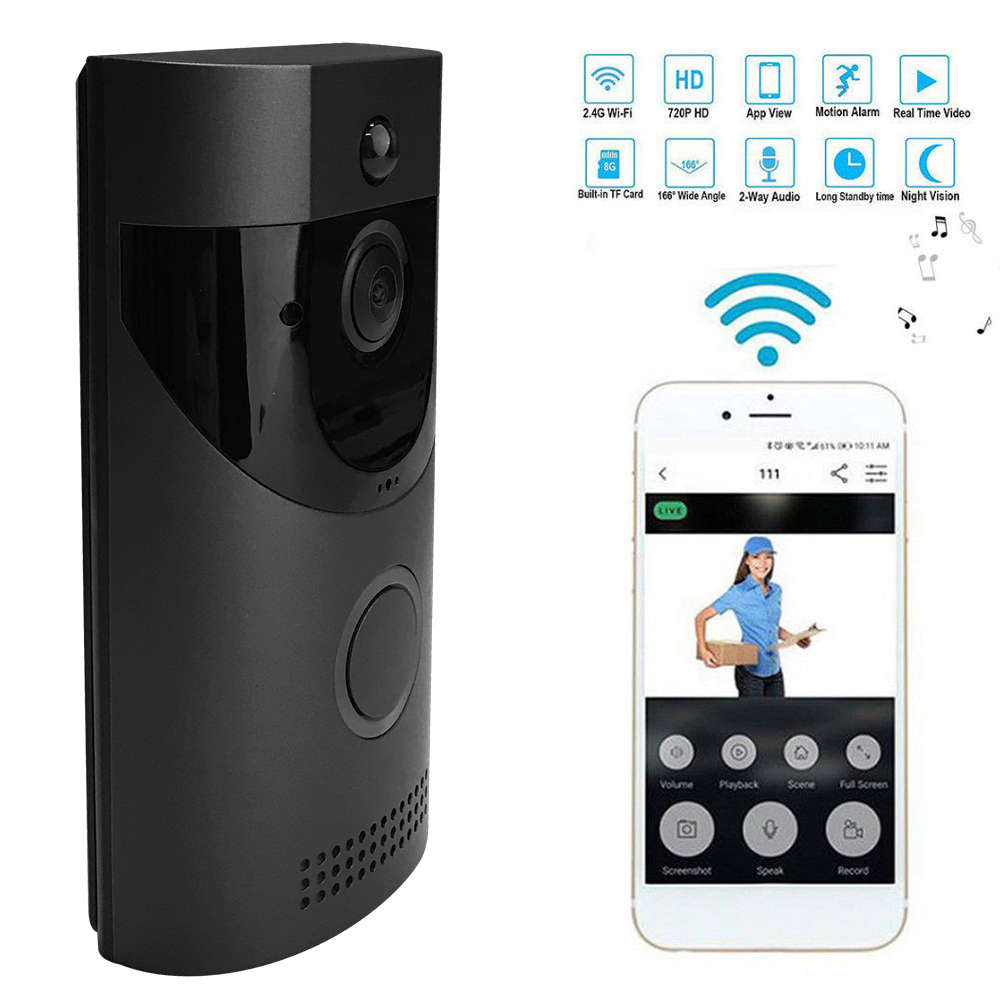 Wireless WiFi Security Waterproof DoorBell Door Phone Visual Recording with Plug-in Chime Remote Night Vision Cloud Storage