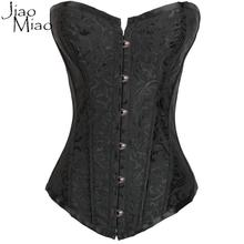Jiao Miao Black Boned Overbust Gothic Clothing Sexy Waist Trainer Corset And Bustiers Hot Shaper Slimming