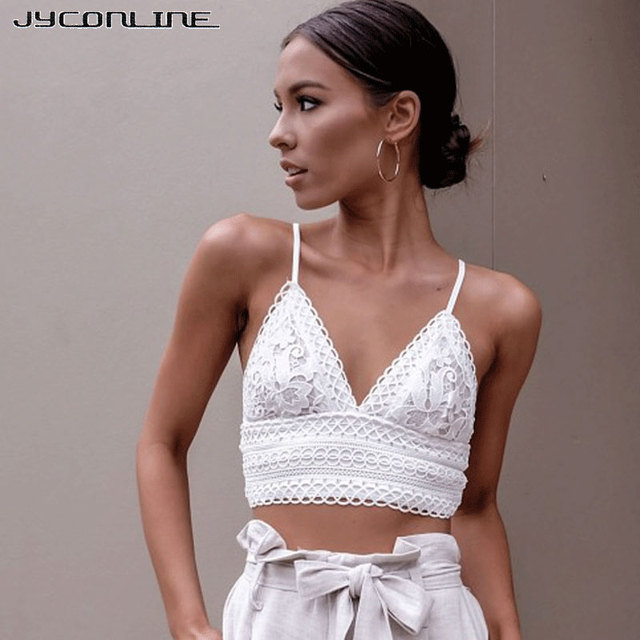 d24dd0373447e JYConline V Neck Lace Crop Tops Women Bow Lace Up Camis White Lace Cropped  Camisole Female Backless Sexy Bralette Tank Tops Pink