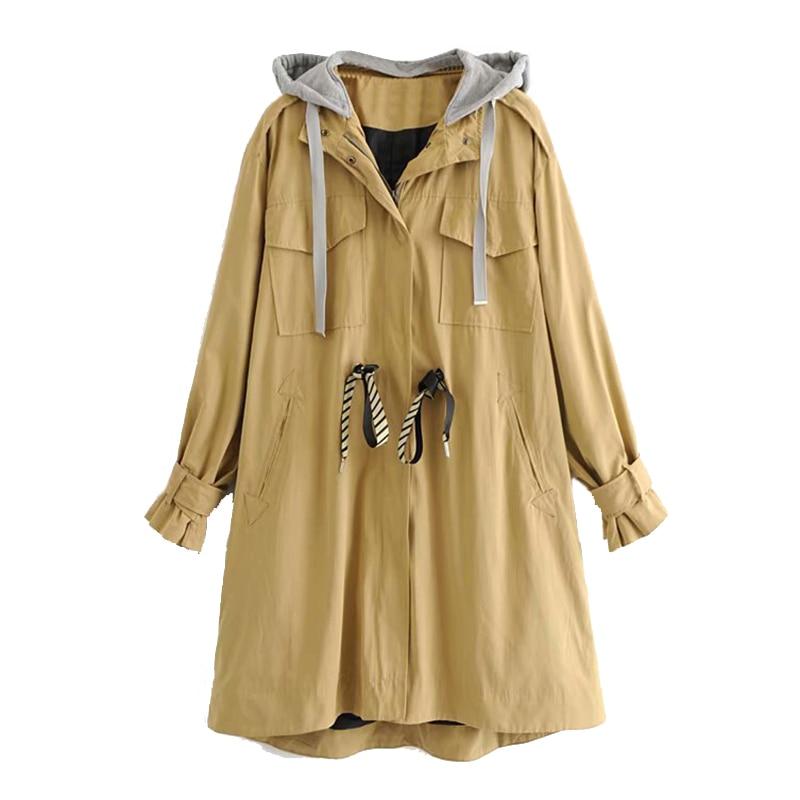 Plus Armée vent Base De Sweat 2019 Manteau Vert À Bomber Coupe La Kaki Capuchon Cordon Femmes Long Veste Taille Automne Outwear OEwnn1qAaS
