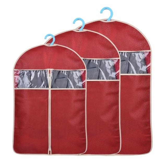 New Non-woven Garment Suit Coat Dust Cover Protector Transparent Wardrobe Storage Bag U0756