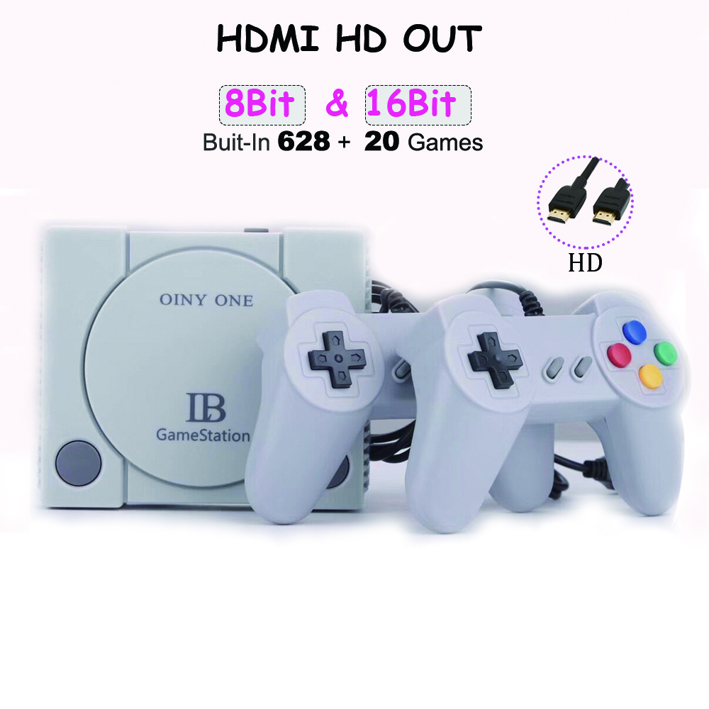 New Coolbaby 16 Bit & 8-Bit  HDMI Retro Game Console Bult In 628 + 20Games HD Video Game player For child birthday gifts