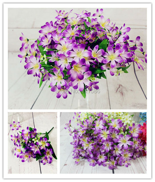 Spr 6 Fork Small Lily Daisy Artificial Bride Flower Bouquet Wedding Table Centerpieces Decorations Party