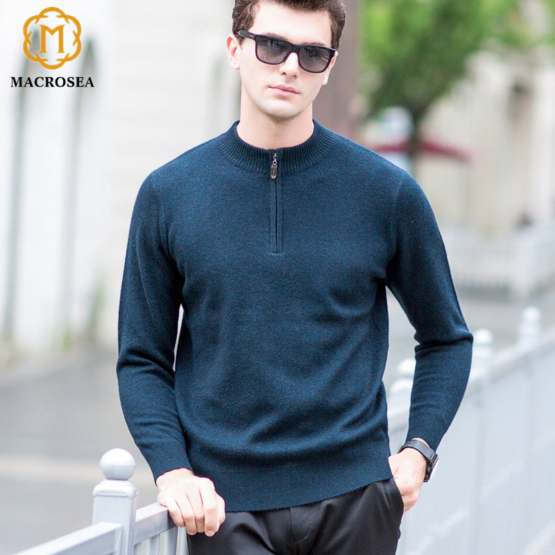 Men's Formal Business Wool Pullover High Quality 100%  Wool Sweater Men Casual Winter Zipper Collar Thick Warm Sweater