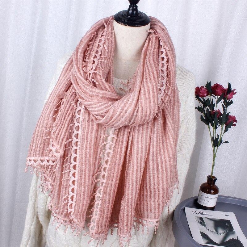 new fashion silk cotton   scarf   women lace warm soft tassel   scarves     wrap   shawl for ladies spring autumn hijab