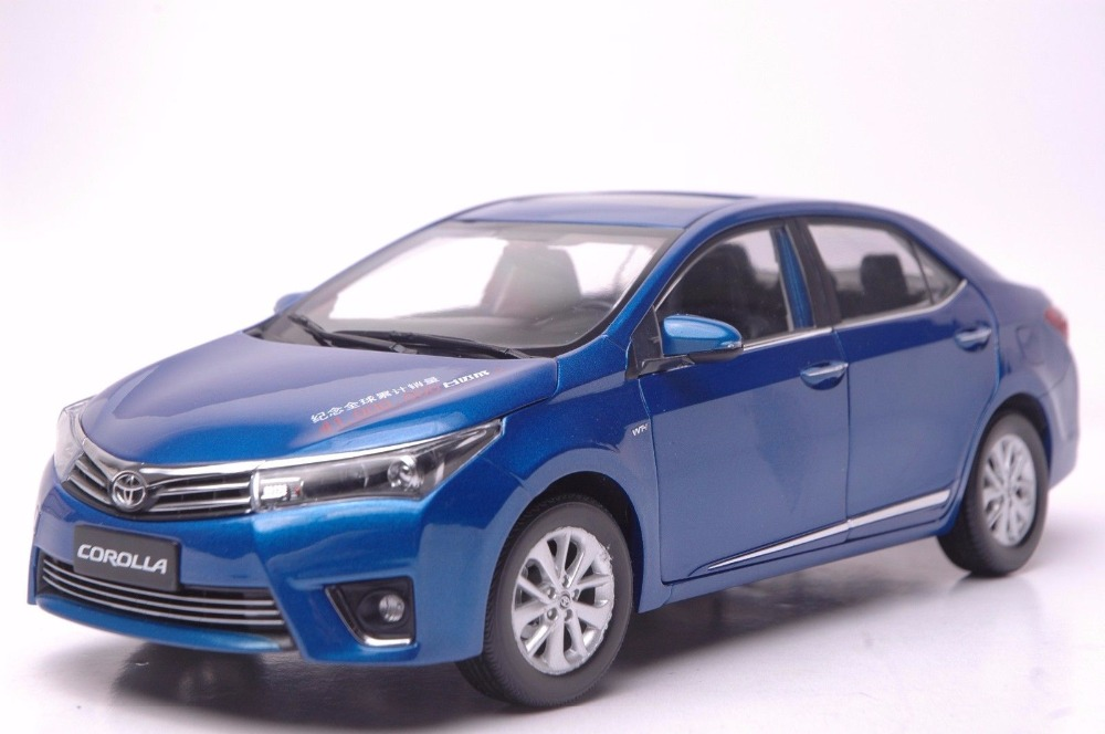 1:18 Diecast Model for Toyota Corolla 2014 Blue Rare Alloy Toy Car Miniature Collection Gifts special car trunk mats for toyota all models corolla camry rav4 auris prius yalis avensis 2014 accessories car styling auto