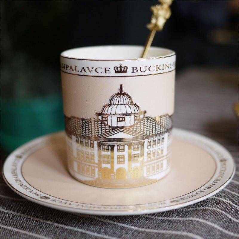 Tasse à café en céramique créative tasse à thé en porcelaine dorée ensemble de tasses à café ensemble de tasse à thé de haute qualité