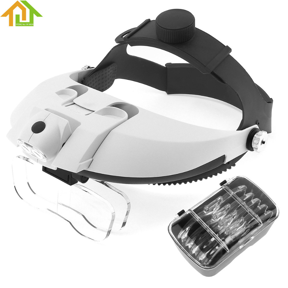 81001-H ABS Repairing/Reading Adjustable Wearing Style Magnifier with 5 Acrylic Optical Lens and Portable Detachable LED Light