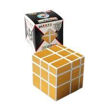 Nuevo Cubo mágico 3 x 3 x 3 ShengShou Mirror velocidad Stickerless velocidad rompecabezas Gold & Silver Cubo Profissional aprendizaje y educación juguetes
