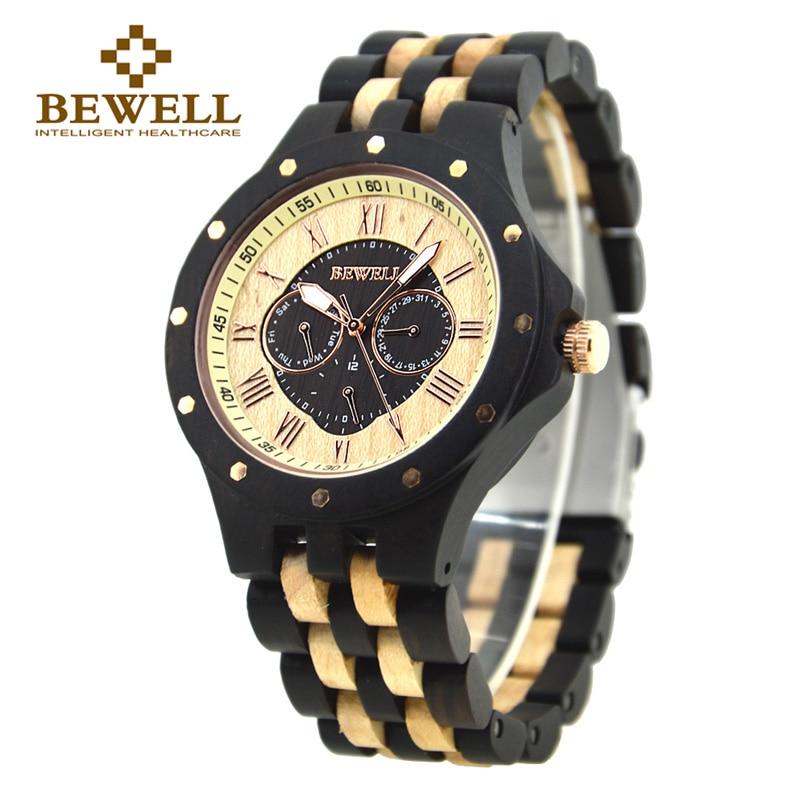 BEWELL Mens Watches Man Dress Quartz Watch Male Wooden Watch Six Hands 2018 Fashion Wrist watch relogio masculino 116C