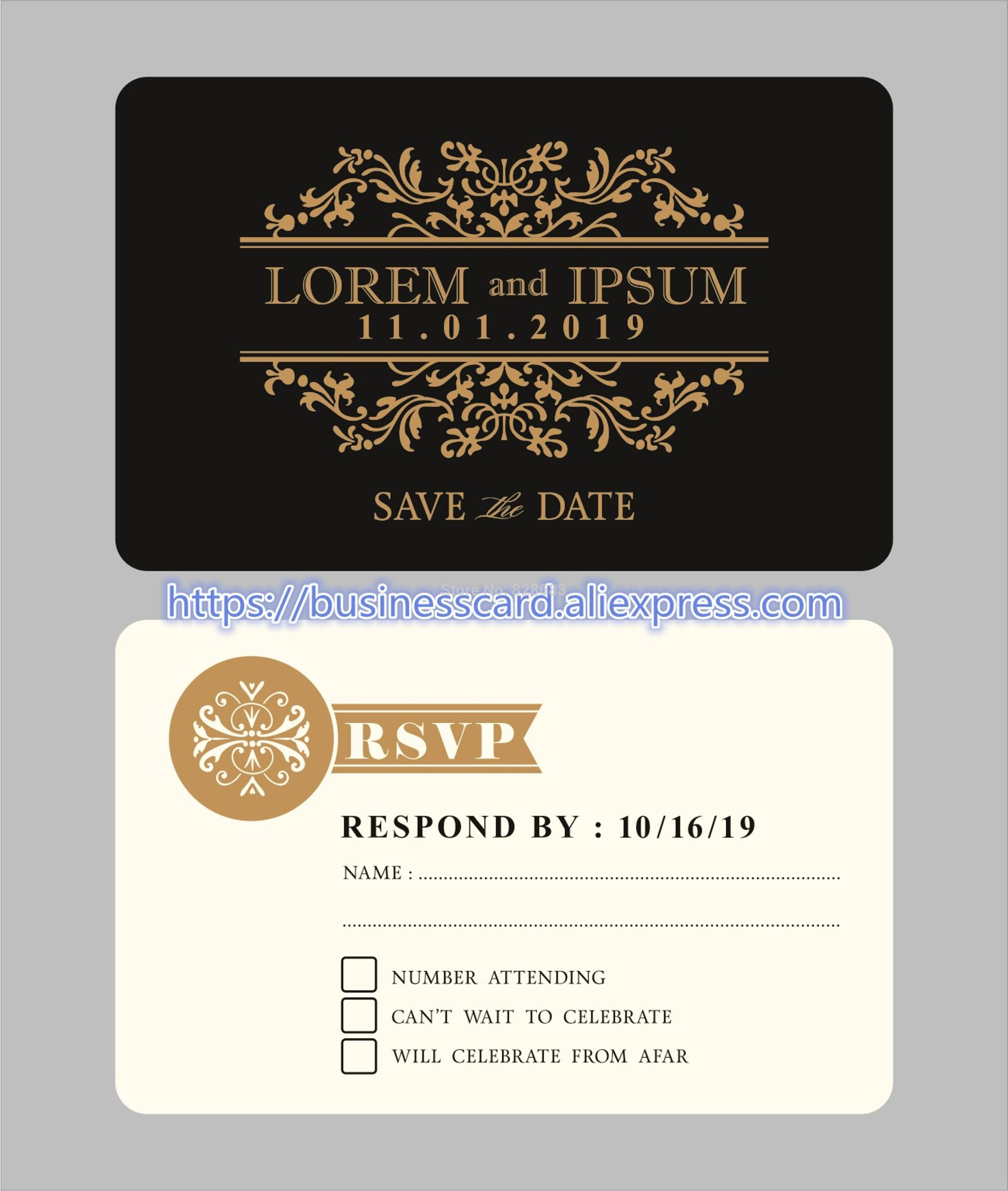 wedding invitation cards with custom design, matte white plastic cards template with floral background Y0062