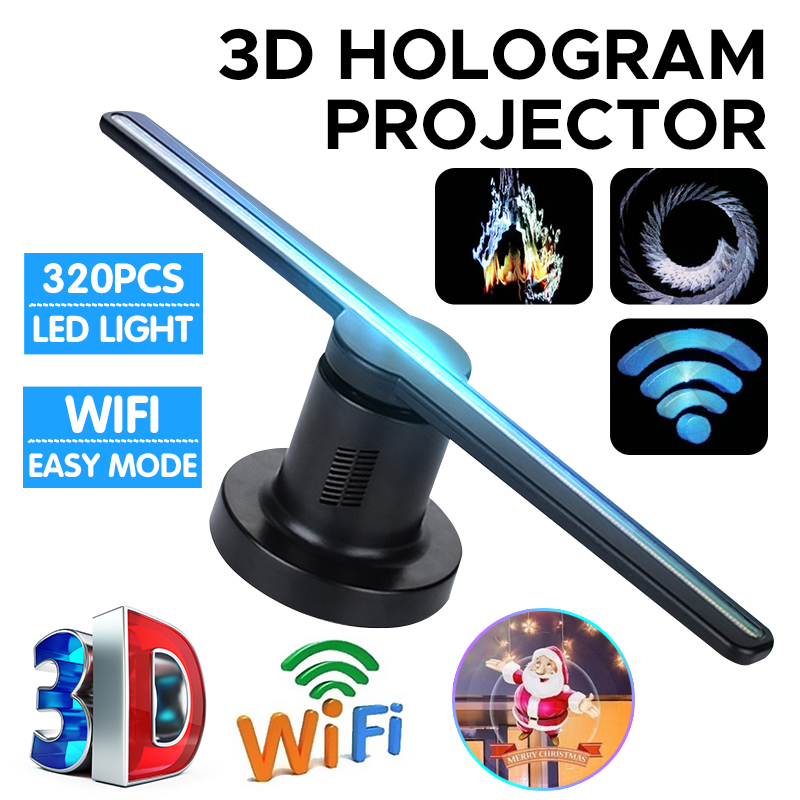 Ventilateur drôle de projecteur d'hologramme de Wifi 3D avec 16G TF 224 LEDs Logo de magasin holographique joueur hologramme publicité lumières décor de fête