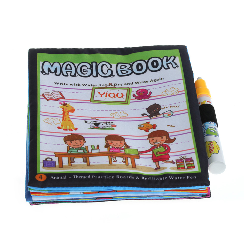 Magic Kids Water Drawing Cloth Book Coloring Animals Painting Doodle With Pen W30