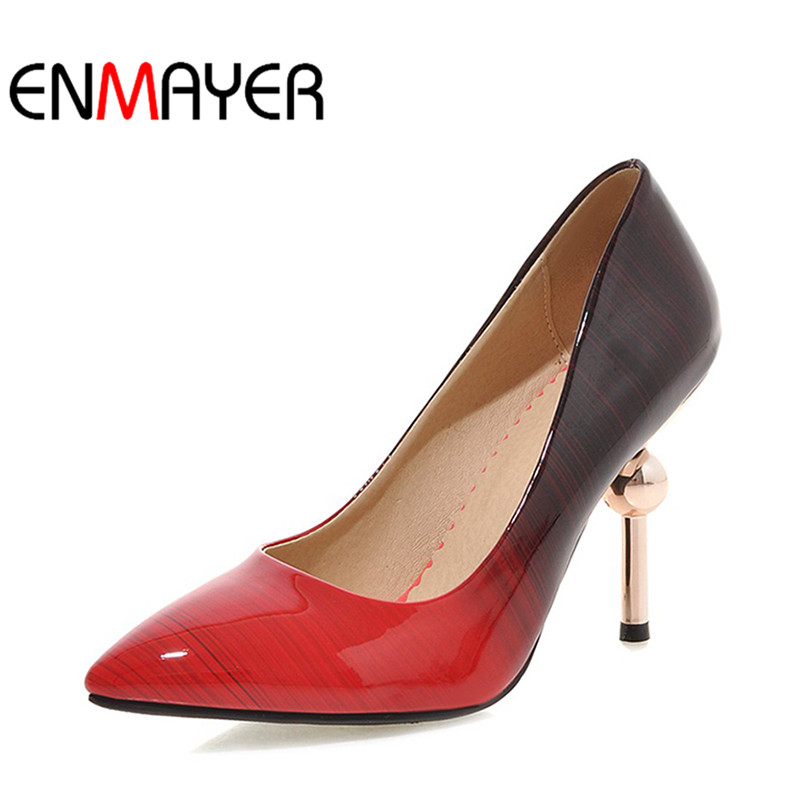 ФОТО ENMAYER Summer Plus SizeWomen Pumps High Heels Stilleto Pointed Toe Slip-On Sexy Shoes Women Slip-On Party Platform Purple Shoes