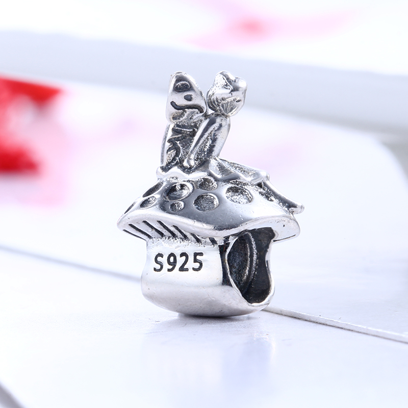 Authentic 100% 925 Sterling Silver Fit Original Pandora Bracelet Cute Mushroom Girl Charm Beads for Jewelry Making DIY
