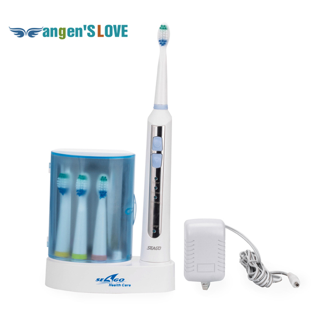Rechargable Sonic Ultrasonic Electric Toothbrush for Adults 4 brush heads Uv sterilizer Waterproof IP7 220V-240V Seago SG-908