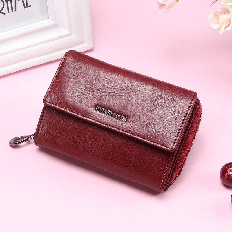 Contact's Genuine Leather Women Wallets Short Coin Wallet for Women Female Card Holder Small Carteira Feminina Zipper Money Bag
