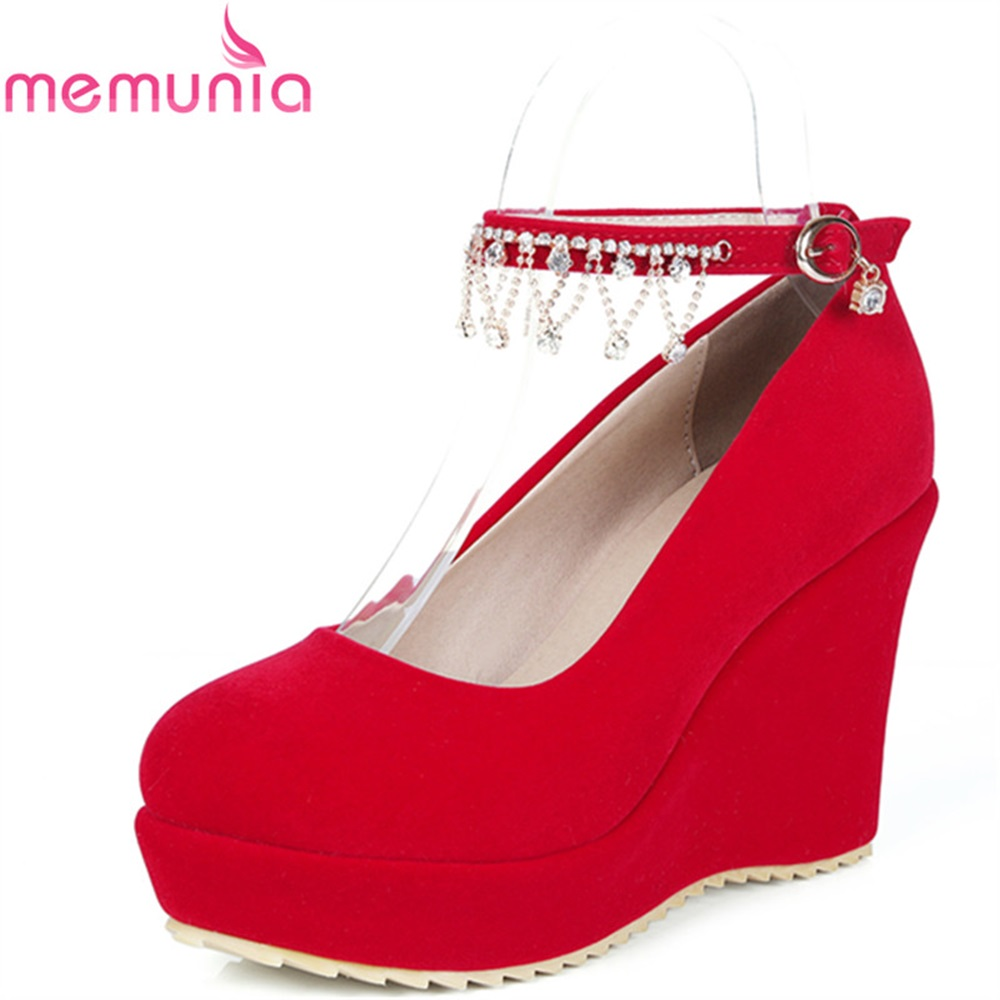 MEMUNIA women pumps high heels shoes spring autumn pu thick heels platform round toe restoring popular sexy dress shoes xiaying smile woman pumps shoes women spring autumn wedges heels british style classics round toe lace up thick sole women shoes