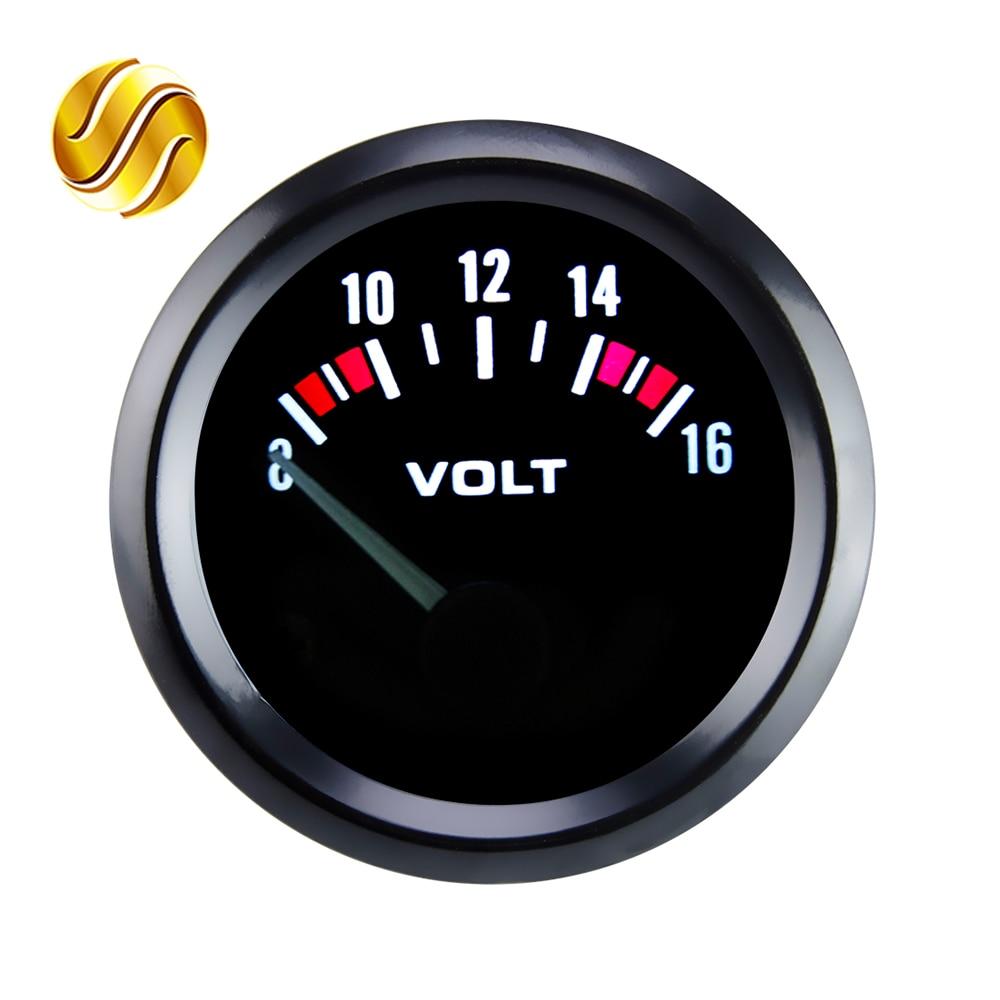 """Dragon Gauge VOLTS Car Gauge 2"""" 52mm VOLT Meter 12V Auto Instrument Voltage Meters 8~16V Black Bezel-in Volt Meters from Automobiles & Motorcycles"""