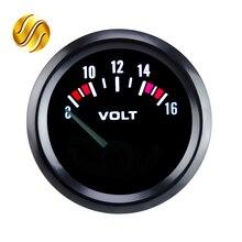 """Medidor de voltaje de coche Dragon Gauge VOLTS, 2 """", 52mm, 12V, 8 ~ 16V, bisel negro"""