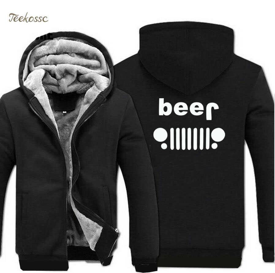4f3ba07ff Creative Beer Jeep Funny Hoodies Men 2018 Winter Warm Fleece Zipper Hooded  Sweatshirts Thick Hoodie Men's