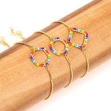 Simple Handmade Slide Colorful Bracelet Miyuki Glass Beads Weave Charm Women Bracelets Friendship Jewelry Pulsera
