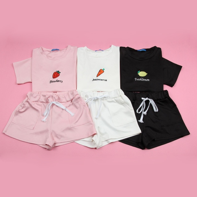2 Pcs/Set Summer Women T Shirt Set Fashion 2 Piece Suit  Cartoon Print T Shirt & Lace Up Pocket Short Pant Set