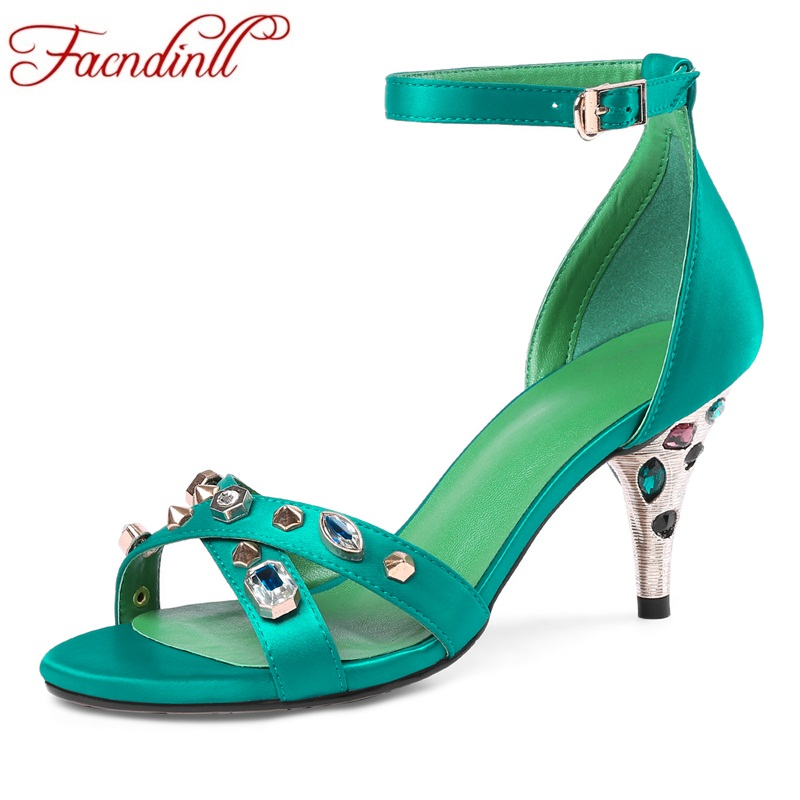 FACNDINLL new 2018 summer fashion gladiator shoes for women sexy high heels peep toe rhinestone shoes woman dress party sandals facndinll shoes summer gladiator sandals for women new fashion genuine leather high heels peep toe shoes woman dress party shoes