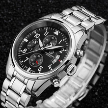 Chronograph stop watch waterproof military running sports luxury brand mens quartz watches full steel leather strap montre homme