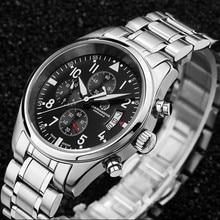 Cronógrafo cronômetro à prova d' água correndo sports marca de luxo mens relógios de quartzo completa aço militar leather strap montre homme