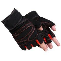 Las mujeres de los hombres de gimnasio guantes de levantamiento de pesas de medio dedo guantes de boxeo fitness deportivo táctico guantes de levantamiento de pesas con muñeca de