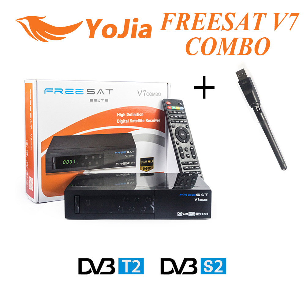 Original Freesat V7 Combo Satellite Receiver DVB S2 / T2 + 1pc USB WIFI Biss Key Cccam PowerVu 1080p HD Set Top Box de it es channels dvb s s2 satellite fta lines 1 year cccam clines newcamd usb wifi satellite tv receiver for free shipping