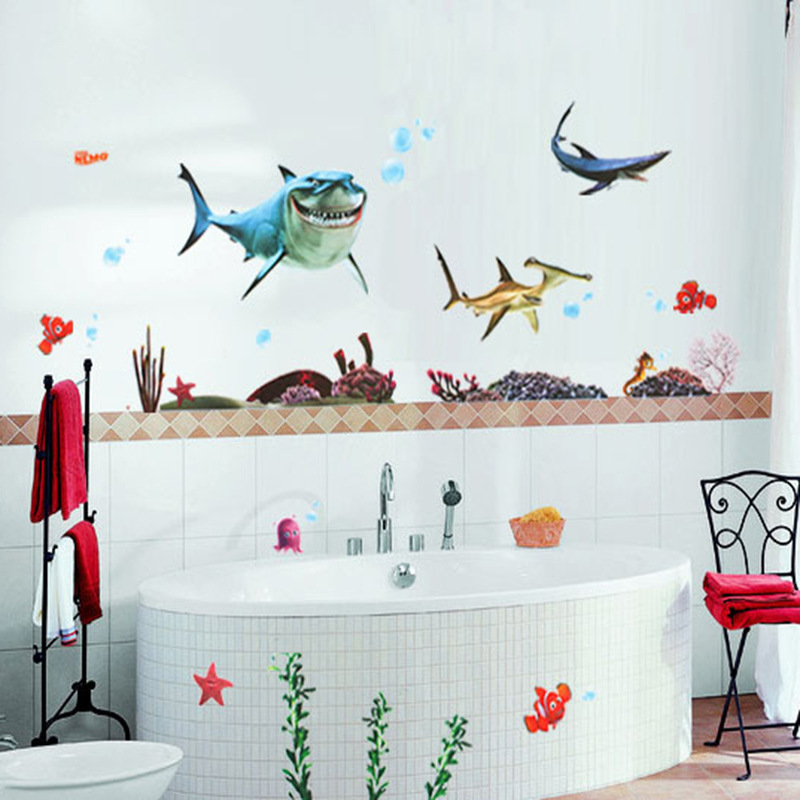 Fish seabed nemo wall sticker cartoon wall sticker decor removable vinyl nursery kids room for Stickers para dormitorios