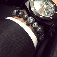 European Buddha Bracelet Men CZ Skull Charm India Labradorite 8mm Natural Stone Light Beads Bracelet For