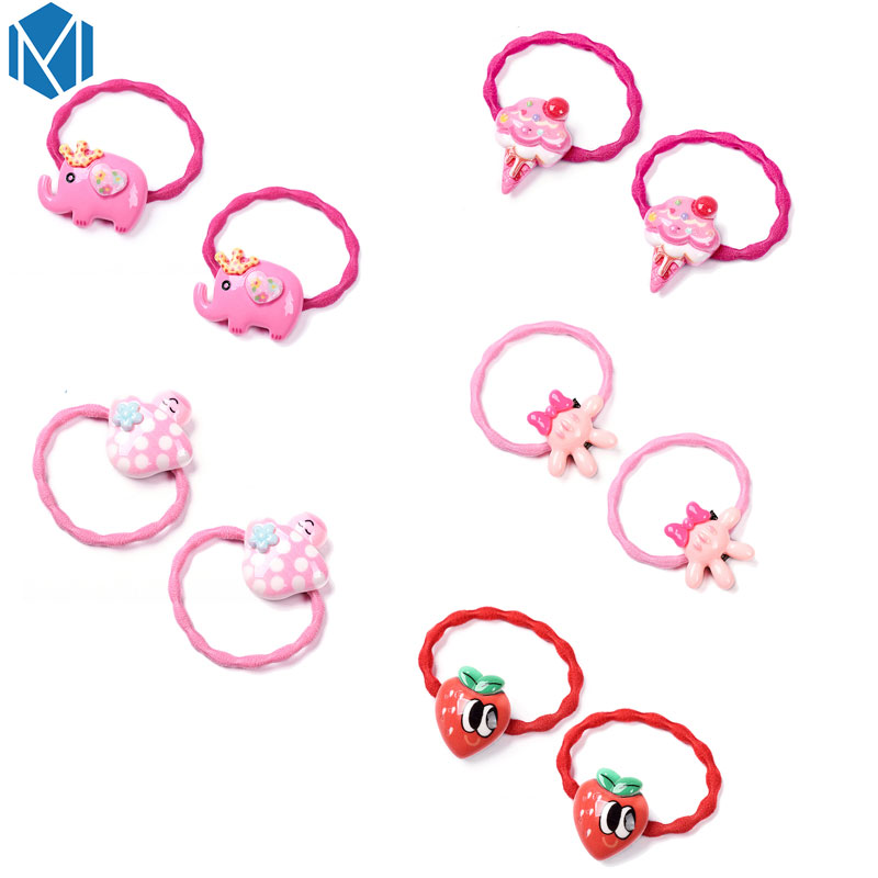 M MISM New Fruit Elephant Ice Cream Hair Elastic Band for Girls kids Cute Lovely Hair Accessories Rubber Scrunchy Gum Bezel m mism new arrival korean style girls hair elastics big bow dot flora ponytail rubber hair rope hair accessories scrunchy women
