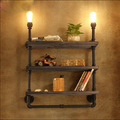 Bookshelf Wall Lamps Vintage Industry Loft RH Creative Retro Water Pipe Wall Lamp with Wood Shelf for Cafe Restaurant Decoration