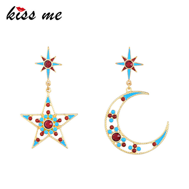 KISS ME Women Star Moon Dangle Personalized Fashion Alloy Enamel Earrings